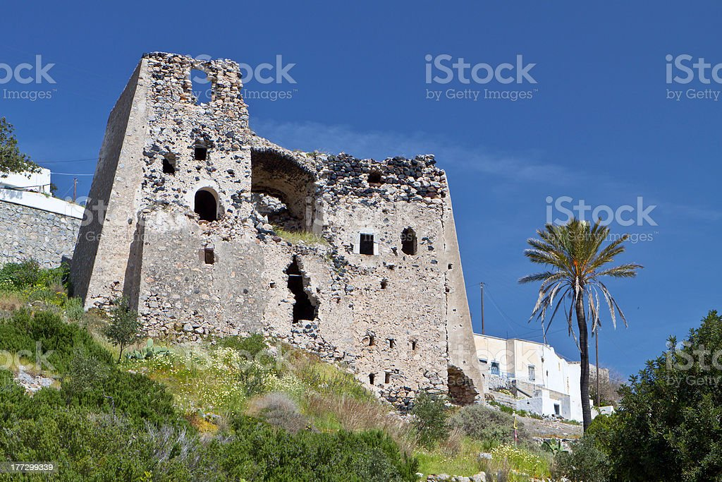 Old tower at Emporio village of Santorini stock photo