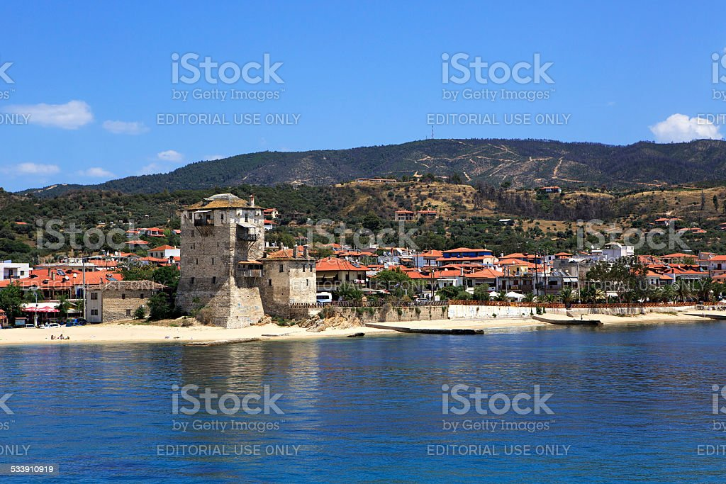 Old tower at the beach in Ouranoupoli stock photo