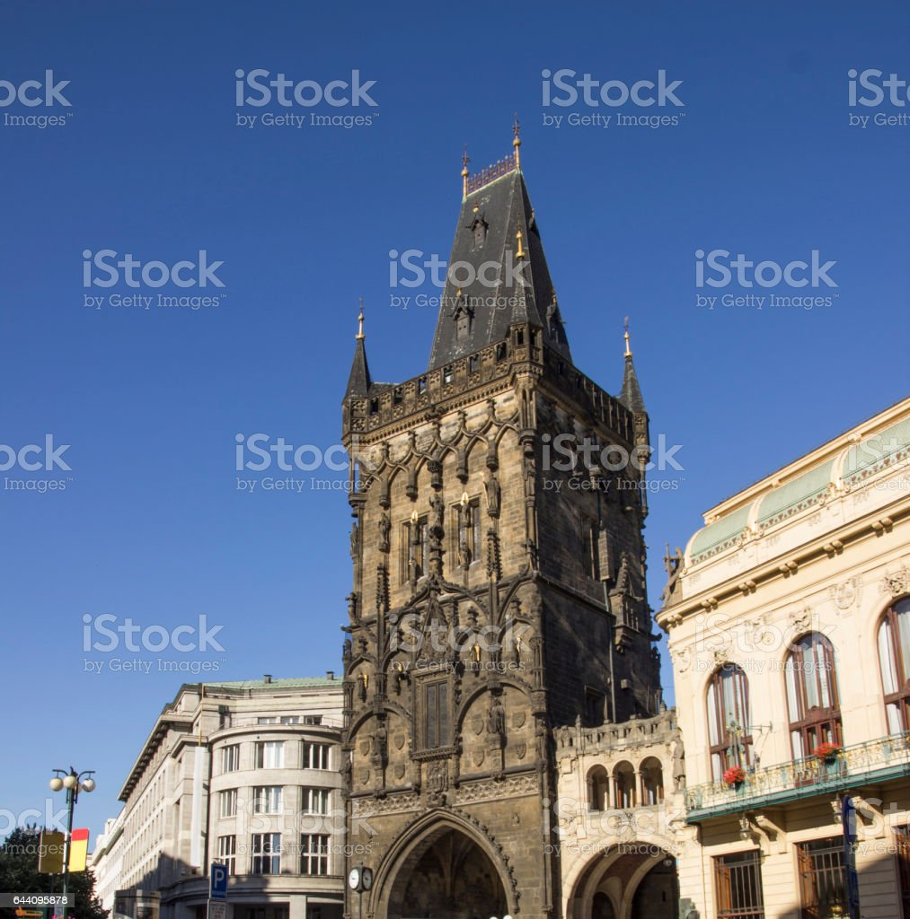 Old tower building. Powder Tower in Prague, Czech Republic. stock photo