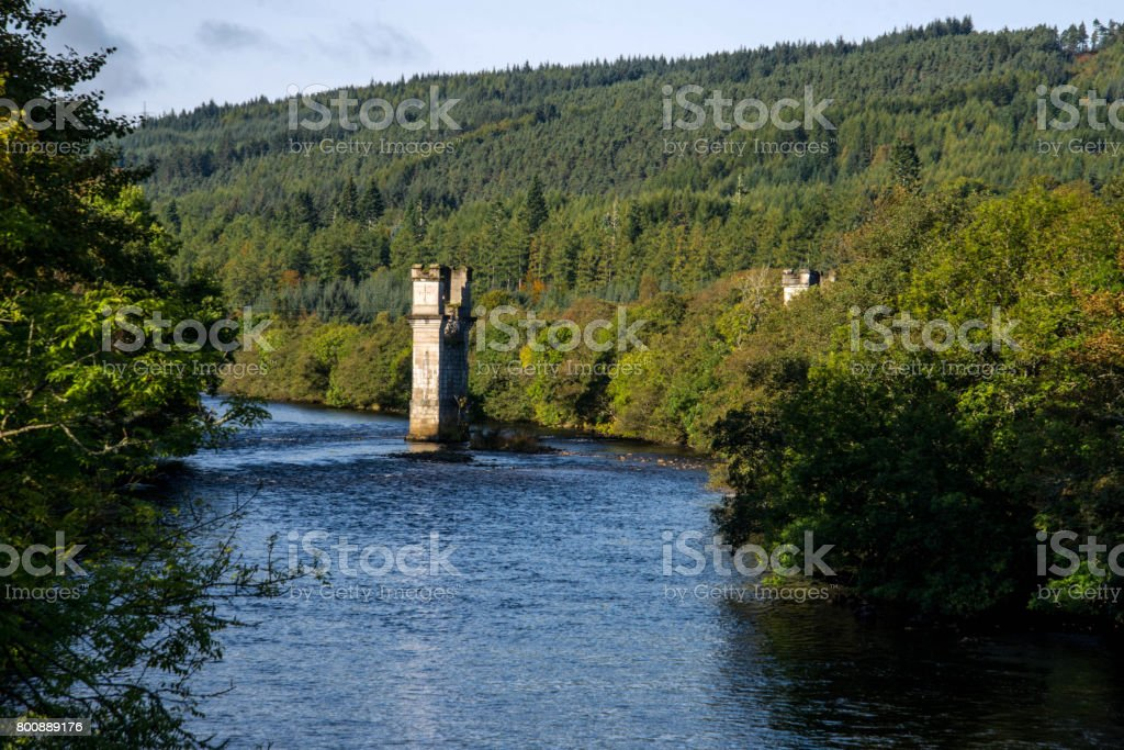 Old tower in river stock photo
