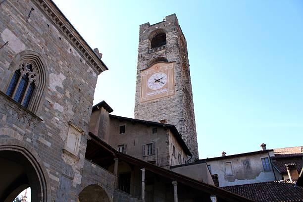 Old tower of Bergamo, Italy stock photo
