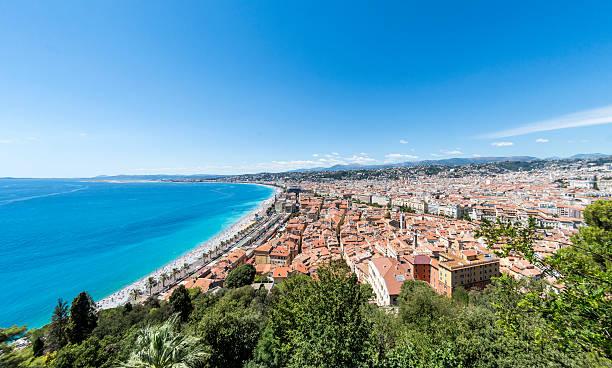 Old Town and beach in Nice, France stock photo