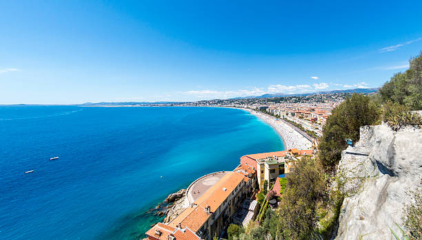 Old Town and cliff in Nice, France stock photo