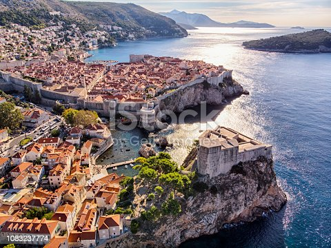 istock Old Town and Fort Lovrijenac aerial view in Dubrovnik 1083237774