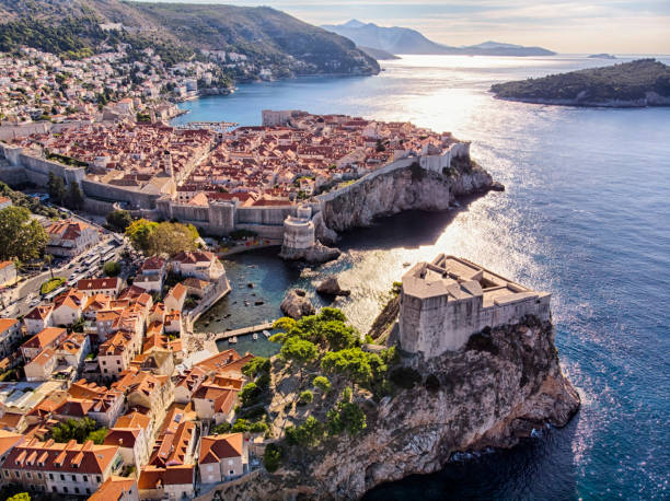 Old Town and Fort Lovrijenac aerial view in Dubrovnik Aerial view of Saint Lawrence Fortress and Dubrovnik old town city walls old town stock pictures, royalty-free photos & images
