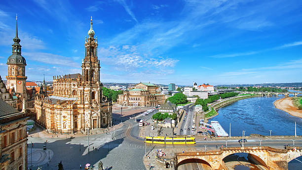 Old Town and of Katholische Hofkirche, Dresden, Dresden, Germany- September 8, 2015: Old Town and of Katholische Hofkirche,Opera Semperoper, Dresden, Germany. Fly view. zwanger stock pictures, royalty-free photos & images
