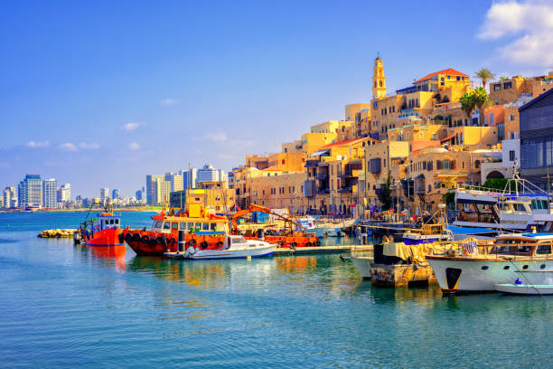 old town and port of jaffa, tel aviv city, israel - israel stock-fotos und bilder