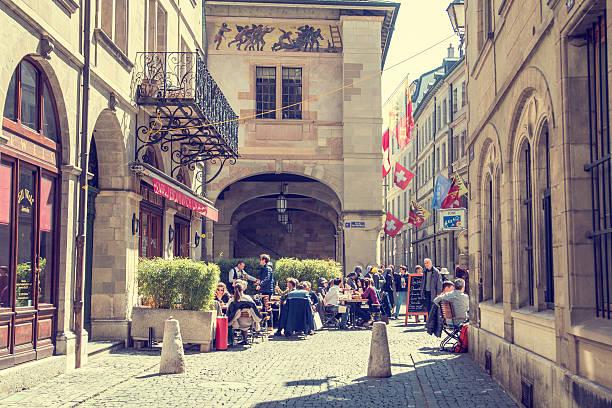 Old Town and Restaurand in Geneva, Switzerland stock photo