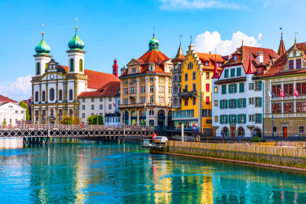 Old Town architecture of Lucerne, Switzerland stock photo