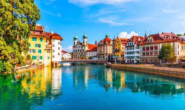old town architecture of lucerne, switzerland - lucerne stock pictures, royalty-free photos & images