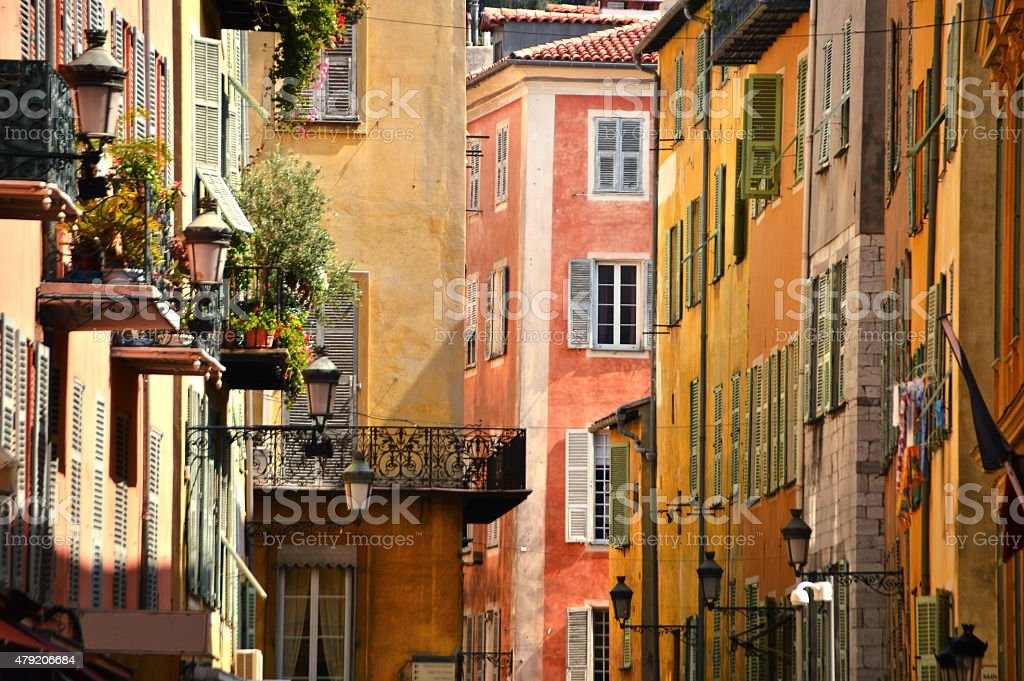 Old town architecture of Nice on French Riviera Old town architecture of Nice on French Riviera 2015 Stock Photo