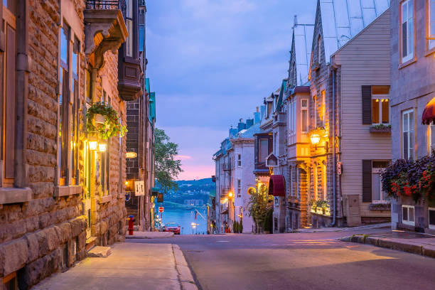 Old town area in Quebec  city, Canada stock photo