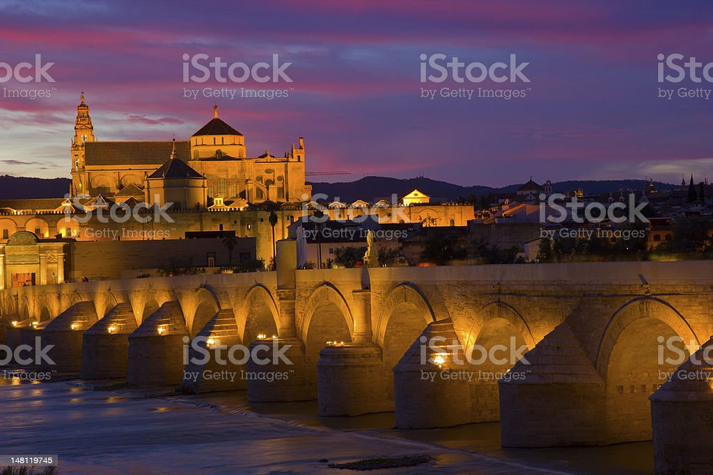 old town at night Cordoba, Spain stock photo