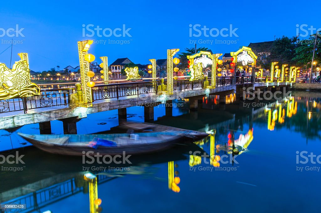 Old town at night, Hoi An, Vietnam. stock photo