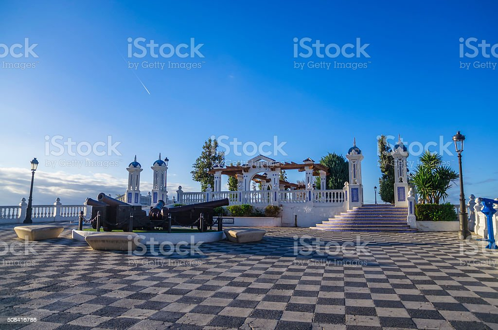 Old Town Benidorm - sunrise, Mediterranean sea, Costa Blanca, Spain stock photo