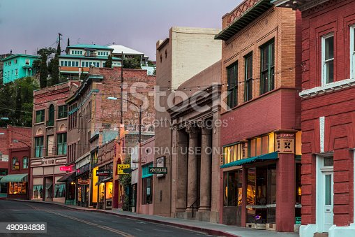 Bisbee, AZ USA - MAY 24, 2015: Downtown Historic Bisbee, Arizona - formerly a copper mining town - photographed at night.