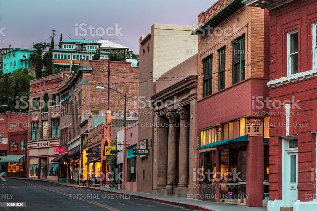 Old Town Bisbee Arizona at Night stock photo