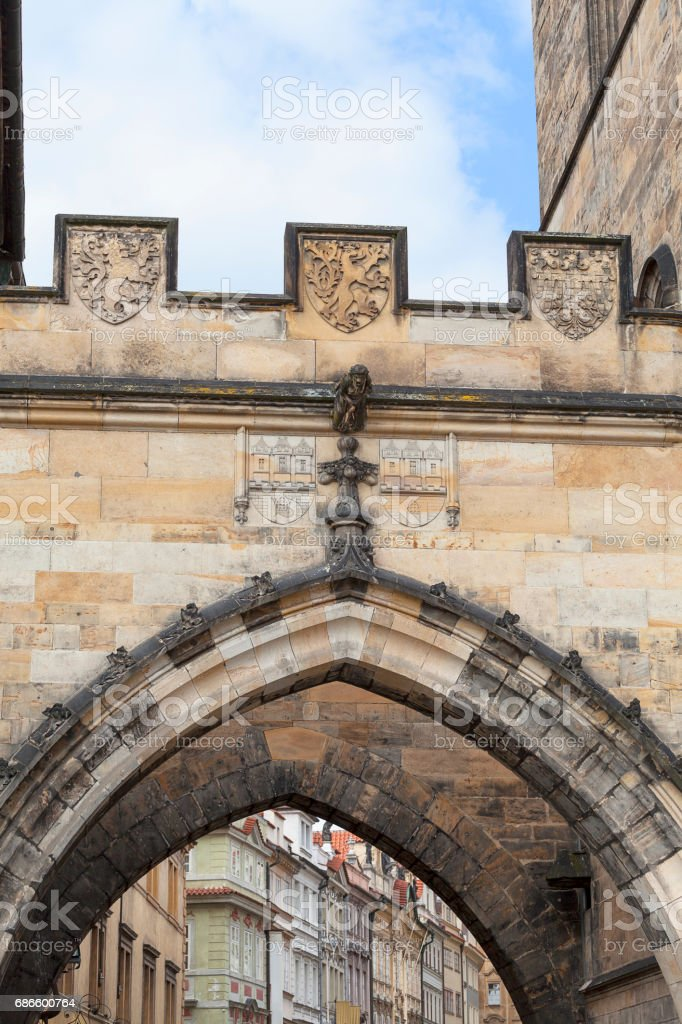 Old Town Bridge Tower, Charles Bridge in sunny day, details, Prague, Czech Republic royalty-free stock photo