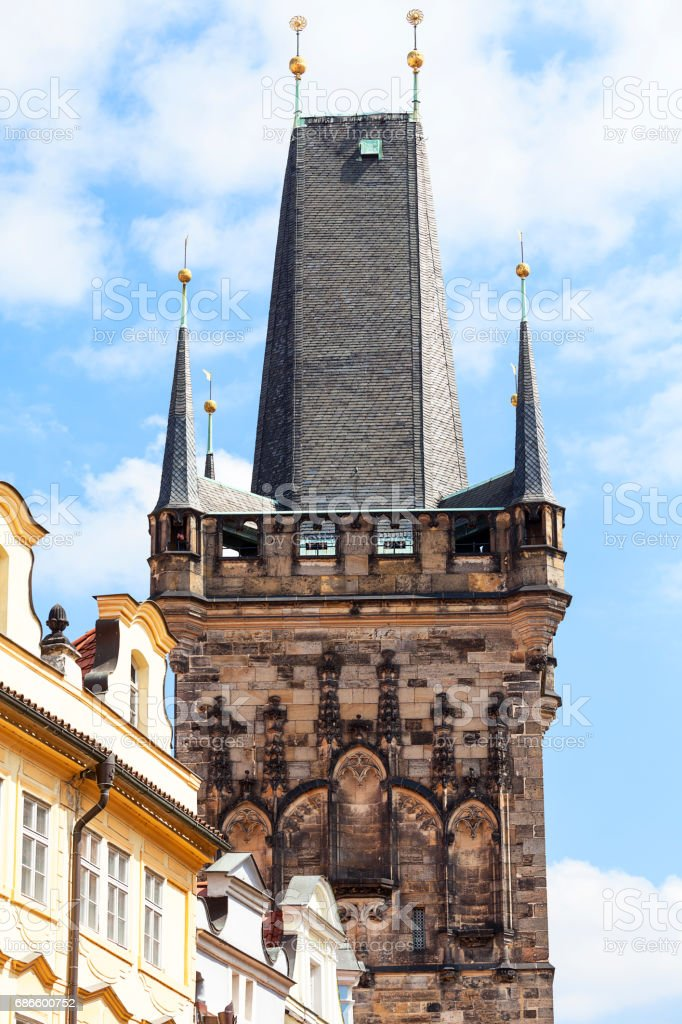 Old Town Bridge Tower, Charles Bridge in sunny day, Prague, Czech Republic royalty-free stock photo