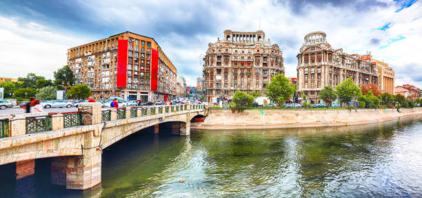 Old Town Bucharest city stock photo