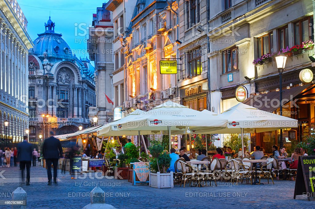 Old Town Bucharest Romania Nightlife stock photo