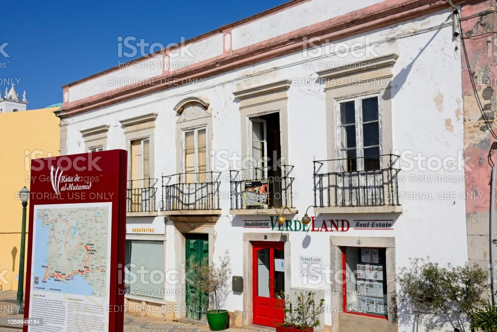 Old town building, Tavira, Portugal. stock photo