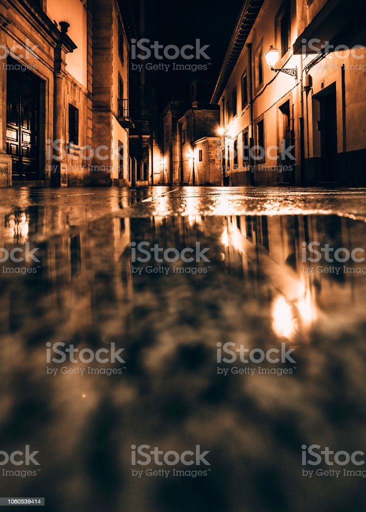 Old town by night - Oviedo, Spain stock photo