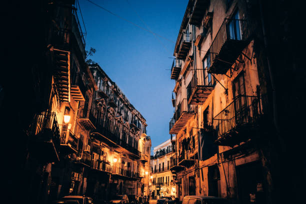 Old town by night - Palermo, Sicily stock photo
