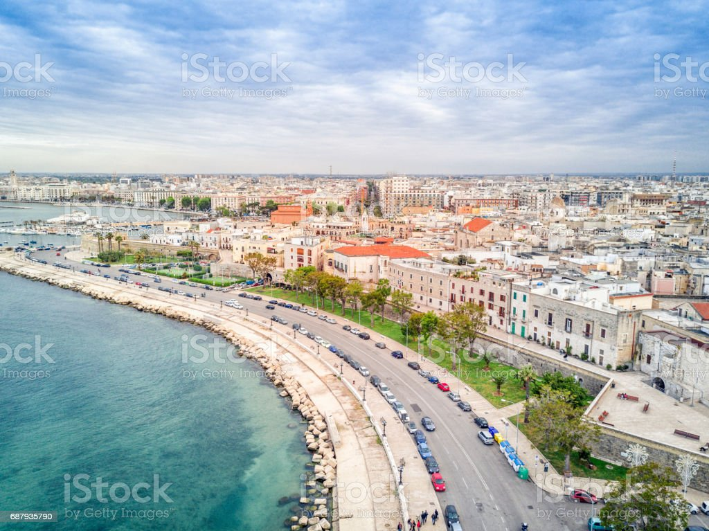 Old town by the sea, Bari, Puglia, Italy stock photo