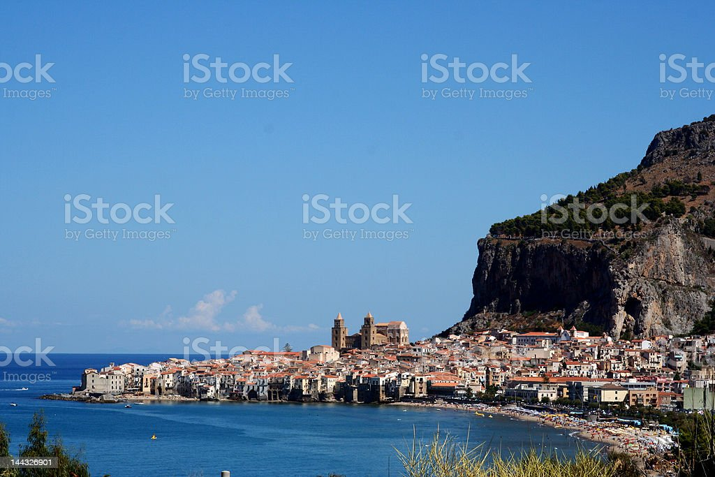 Old town Cefalu in Sicily at summer royalty-free stock photo