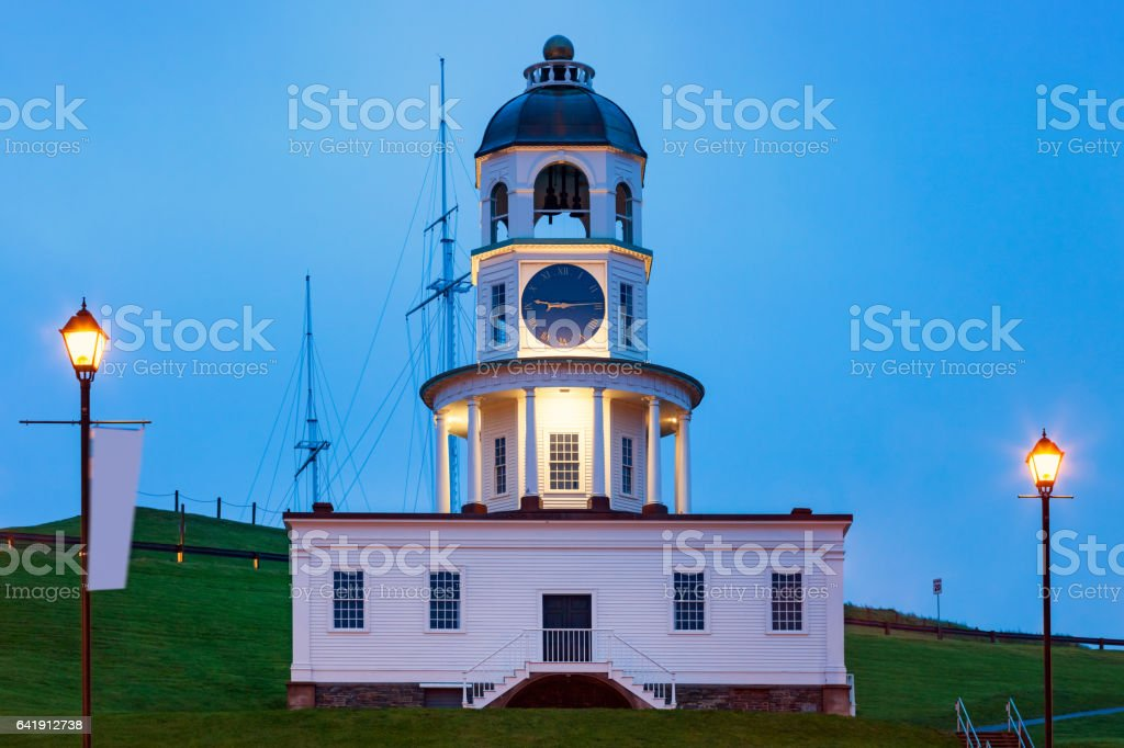 Old Town Clock in Halifax Nova Scotia Canada stock photo