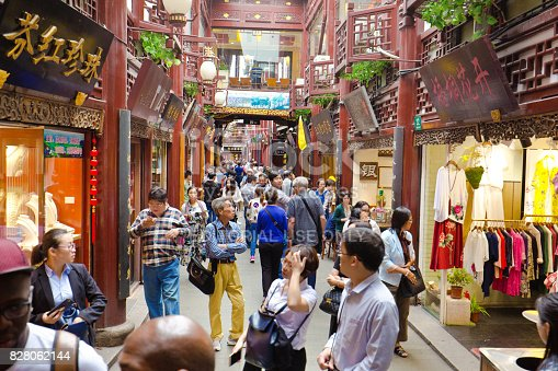 The old town district of Shanghai, a popular shopping and entertainment district of Shanghai. International tourists and local residents frequent the area for its retail shops, famous restaurants and eateries. Photographed May 15, 2017.
