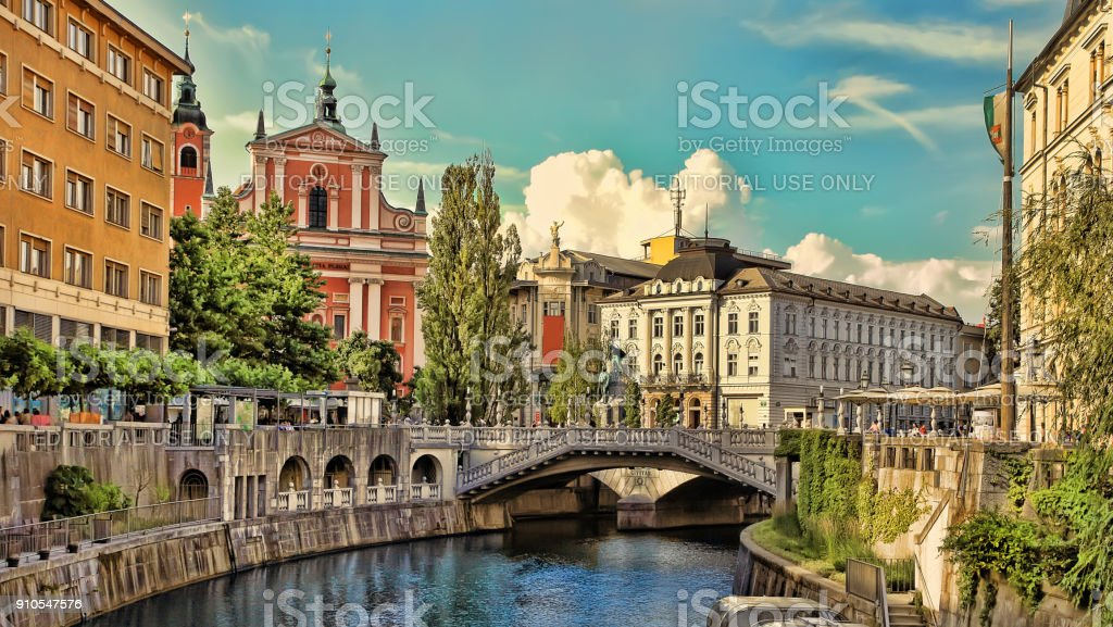 Old town embankment in Ljubljana. Ljubljana is the business and cultural center of the country. stock photo