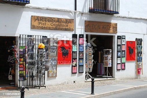Tourist gift shop in the old town, Ronda, Malaga Province, Andalucia, Spain, Europe.