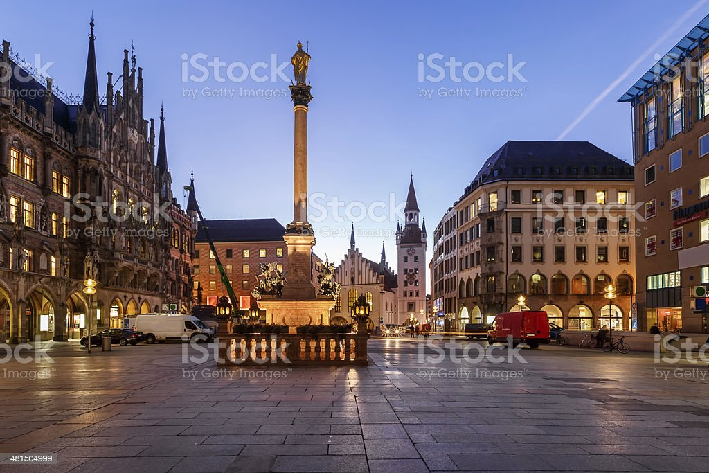 Old Town Hall and Marienplatz in the Morning, Munich, Bavaria stock photo