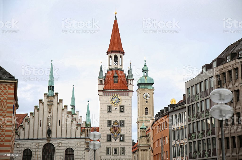 Old Town Hall (Altes Rathaus) building at Marienplatz in Munich, stock photo