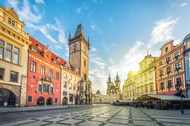 Old Town Hall building with clock tower in Prague Old Town Hall building with clock tower on Old Town square (Staromestske namesti) in the morning, Prague, Czech Republic prague stock pictures, royalty-free photos & images