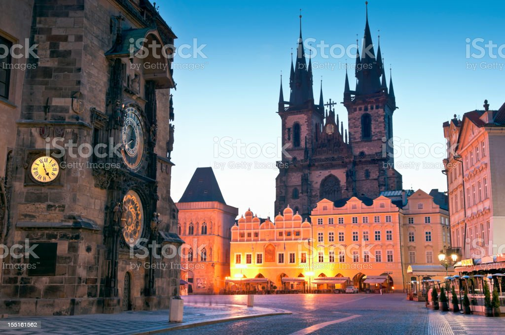 Old Town Hall, Church of our Lady Tyn, Prague stock photo