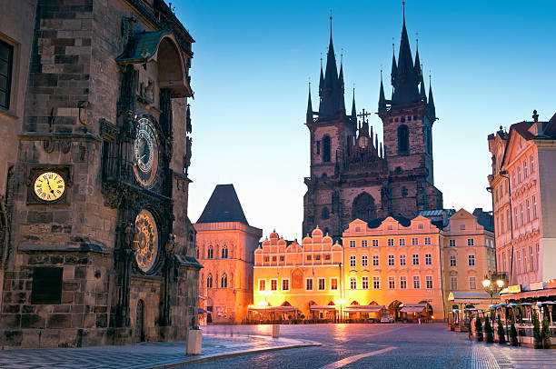Old Town Hall, Church of our Lady Tyn, Prague  astronomical clock prague stock pictures, royalty-free photos & images