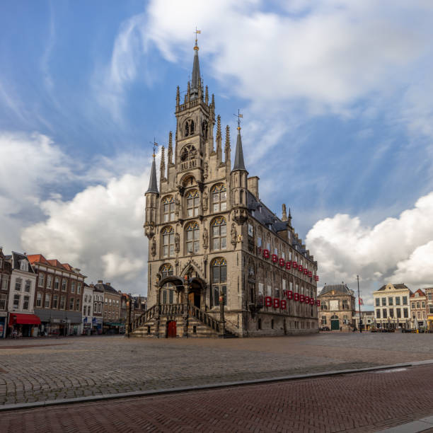 Old town hall in centre of Gouda, the Netherlands stock photo