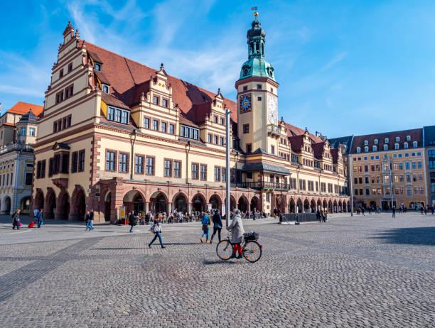 Altes Rathaus Leipzig mit Marktplätzen – Foto