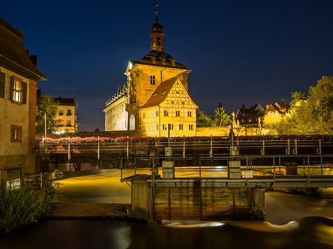 Old town hall of Bamberg at night