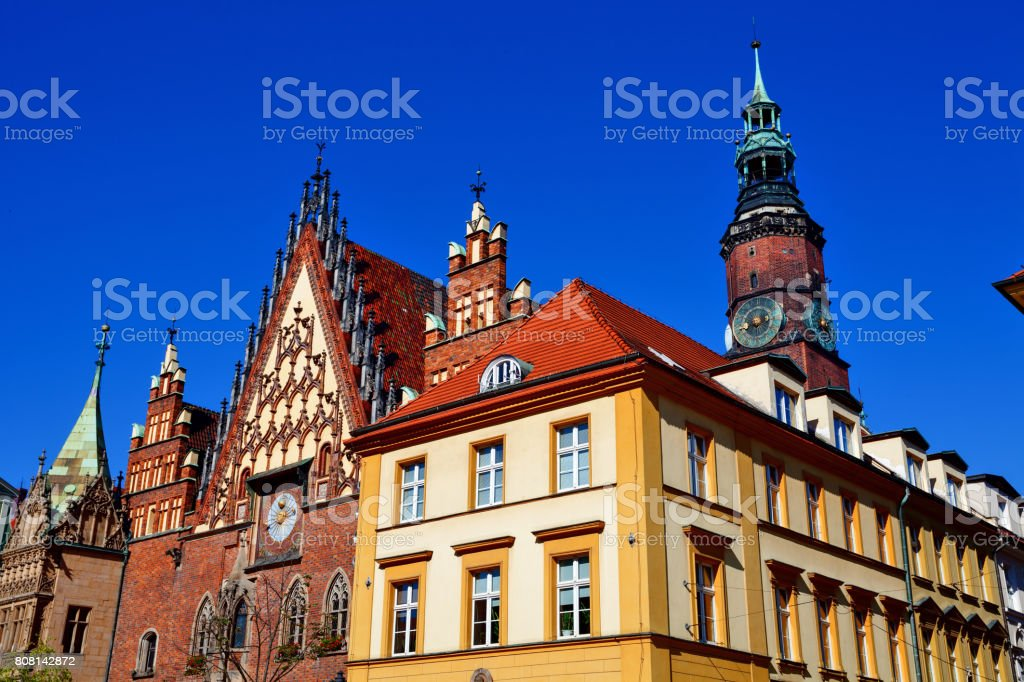 Old Town Hall of Wroclaw at the city center stock photo