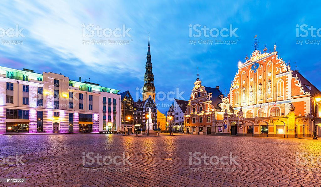 Old Town Hall Square in Riga, Latvia stock photo