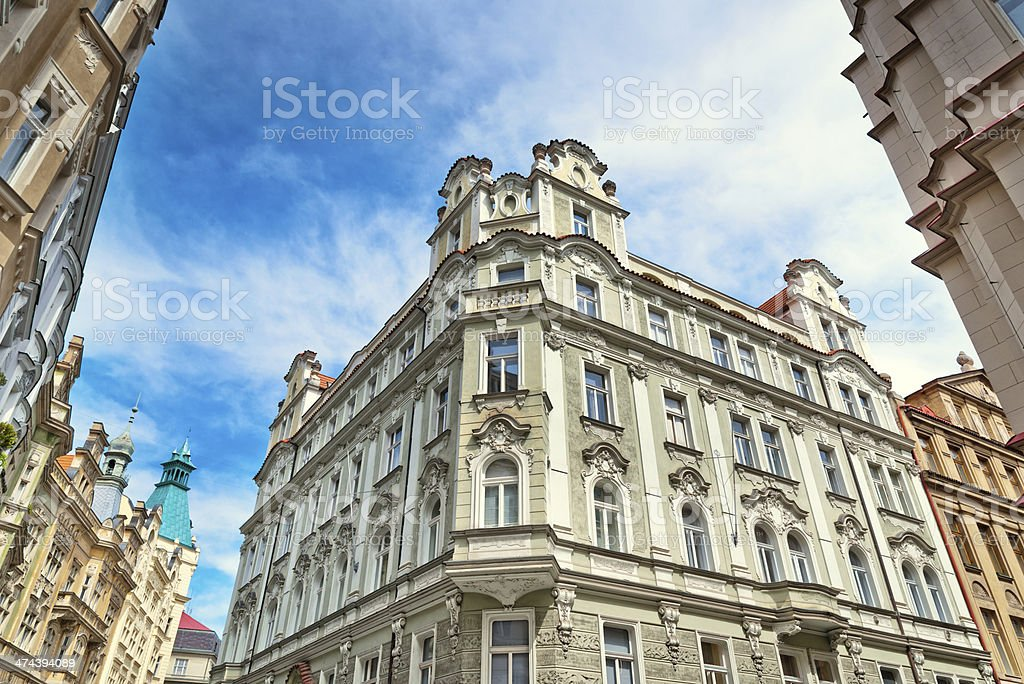old town houses in Prague, Czech Republic stock photo