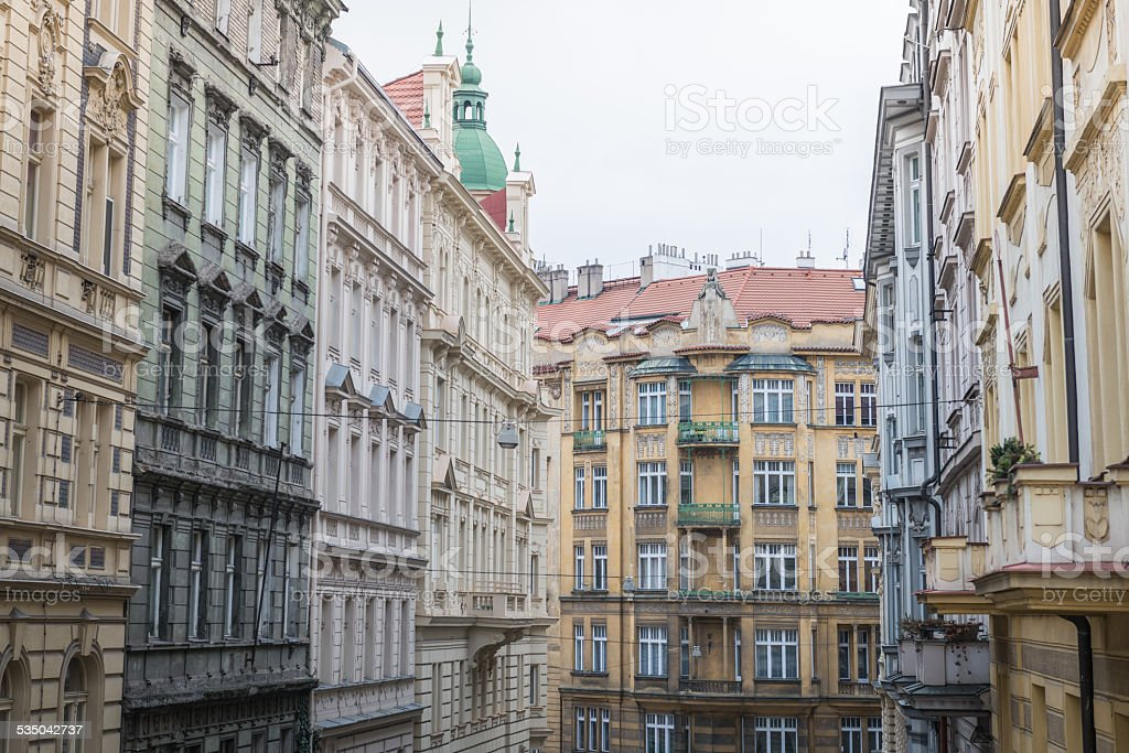 Old town houses in Prague, Czechold stock photo