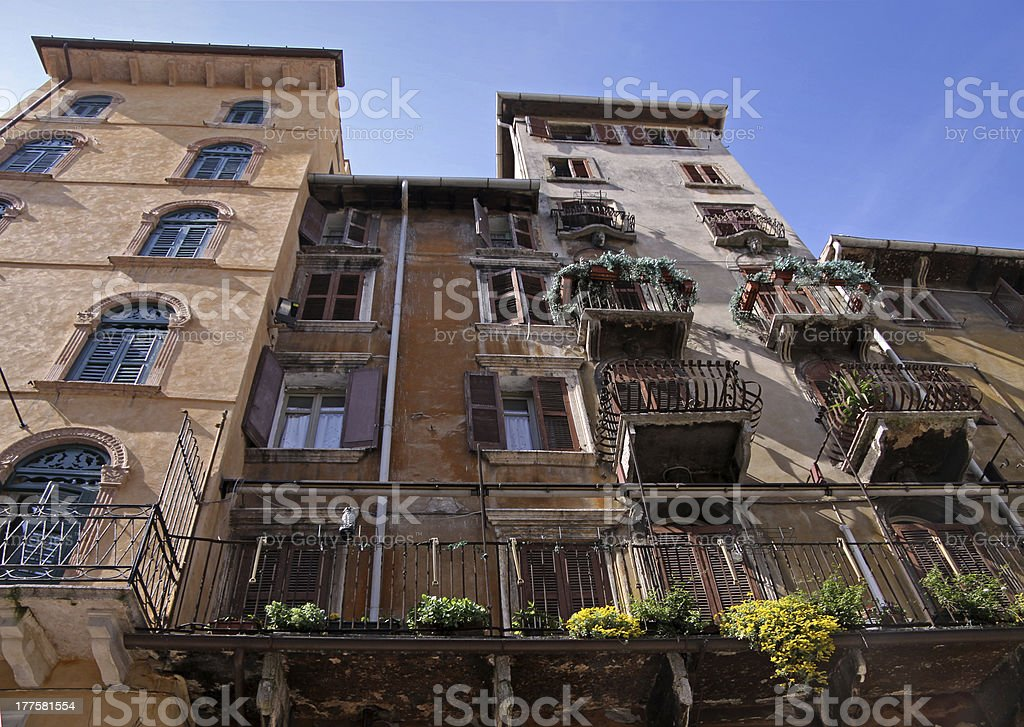 Old town houses in Verona royalty-free stock photo