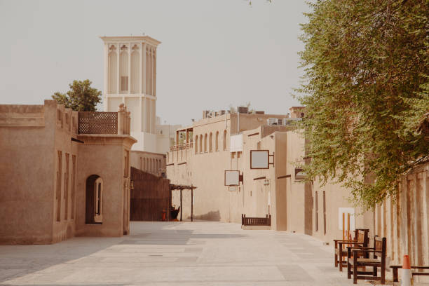 Old town in Al Fahidi Historical District. Dubai city, UAE stock photo