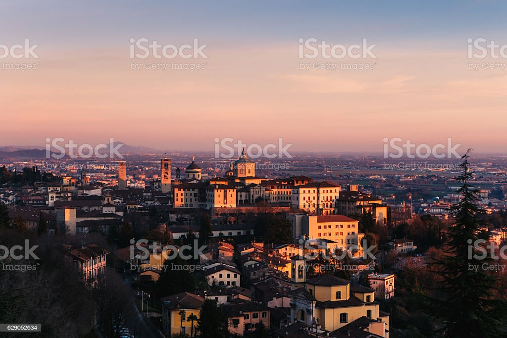 Old town in Bergamo during the sunset stock photo