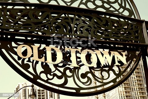 Chicago, Illinois, USA - August 2, 2014: Landmark sign in downtown Chicago's Old Town neighborhood.